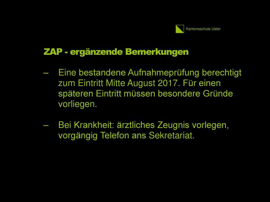 ZAP - ergänzende Bemerkungen