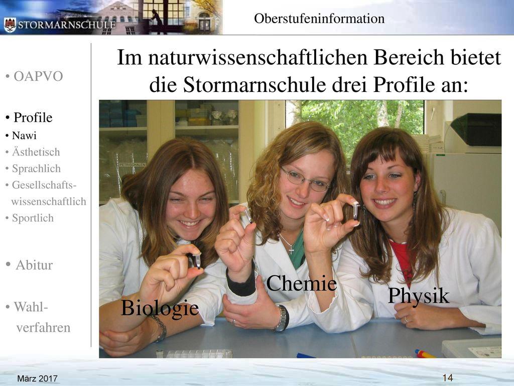 Im naturwissenschaftlichen Bereich bietet die Stormarnschule drei Profile an: