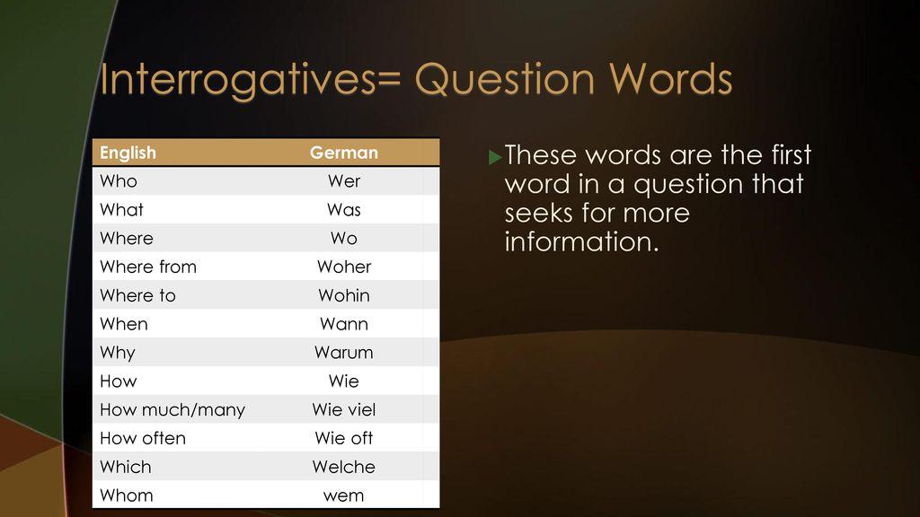 Interrogatives= Question Words