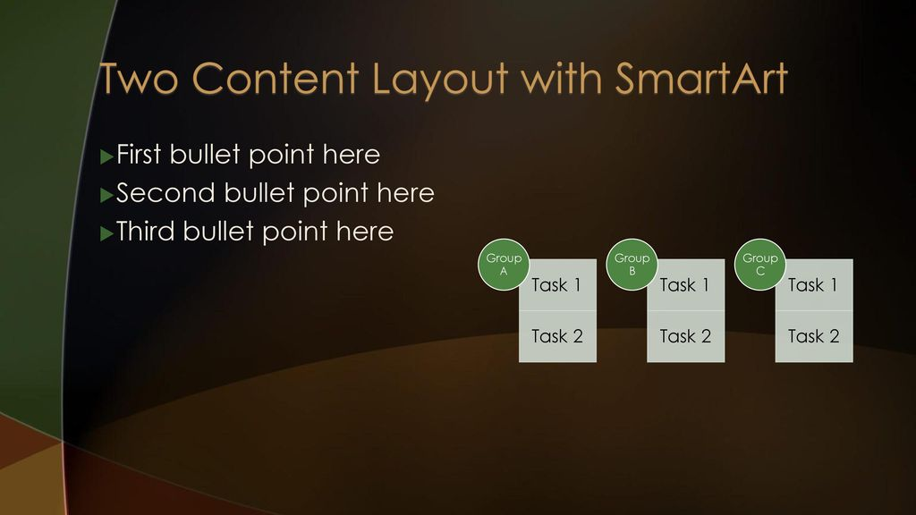 Two Content Layout with SmartArt