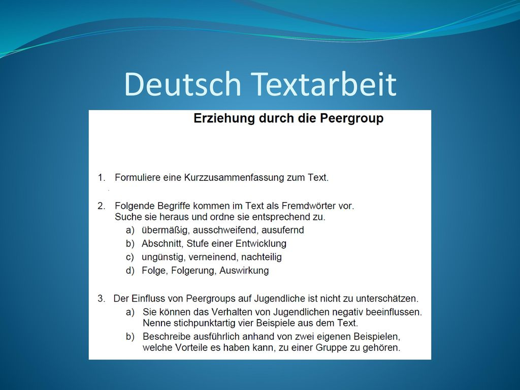 Deutsch Textarbeit