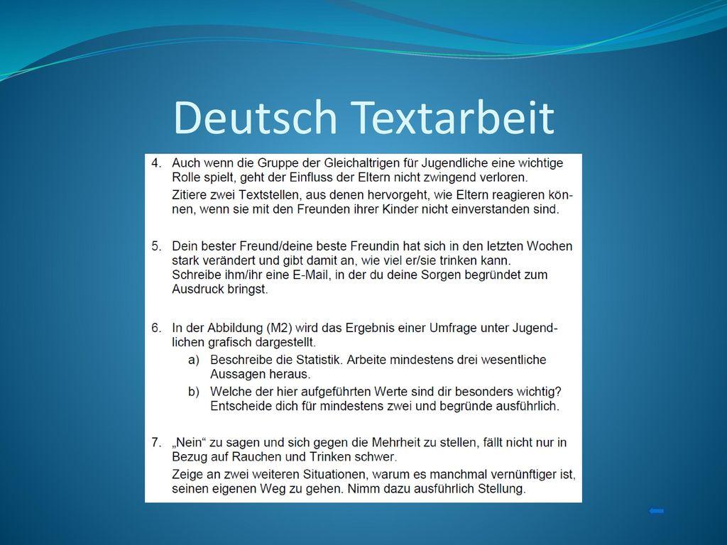 Deutsch Textarbeit