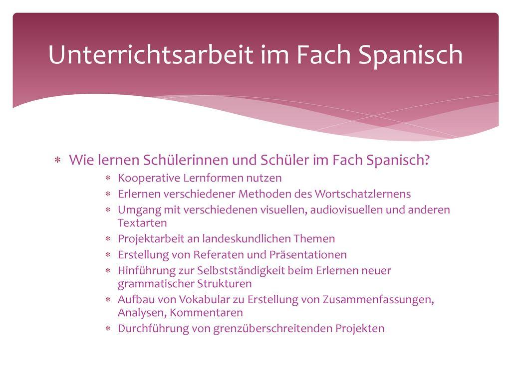 Themen und Gegenstände des Faches Spanisch