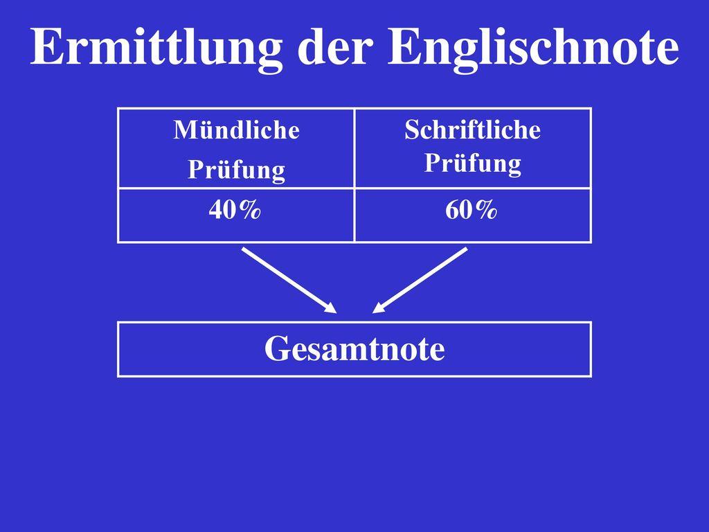 Ermittlung der Englischnote