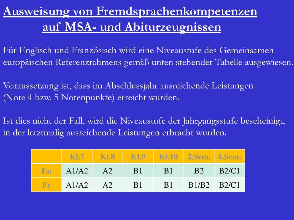 Ausweisung von Fremdsprachenkompetenzen auf MSA- und Abiturzeugnissen