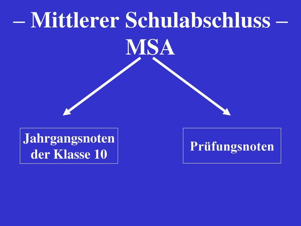 – Mittlerer Schulabschluss – MSA