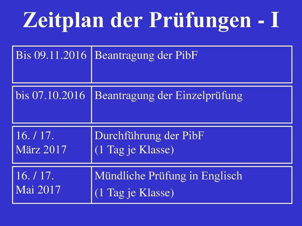 Zeitplan der Prüfungen - I