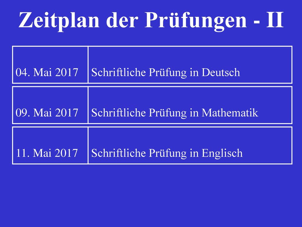 Zeitplan der Prüfungen - II