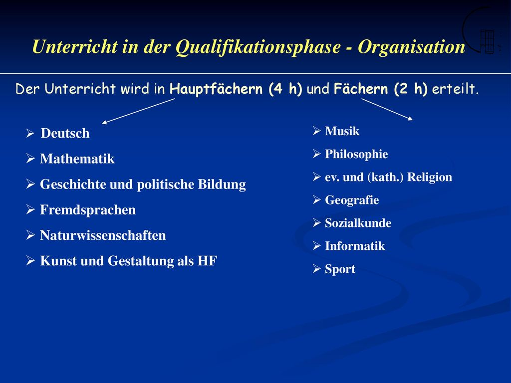 Unterricht in der Qualifikationsphase - Organisation
