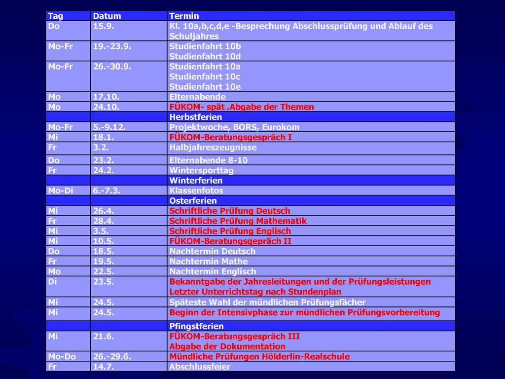 Tag Datum. Termin. Do. 15.9. Kl. 10a,b,c,d,e -Besprechung Abschlussprüfung und Ablauf des Schuljahres.