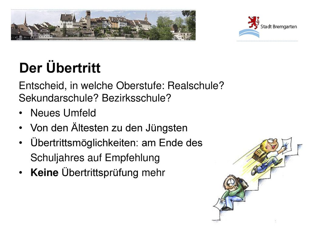 Der Übertritt Entscheid, in welche Oberstufe: Realschule Sekundarschule Bezirksschule Neues Umfeld.