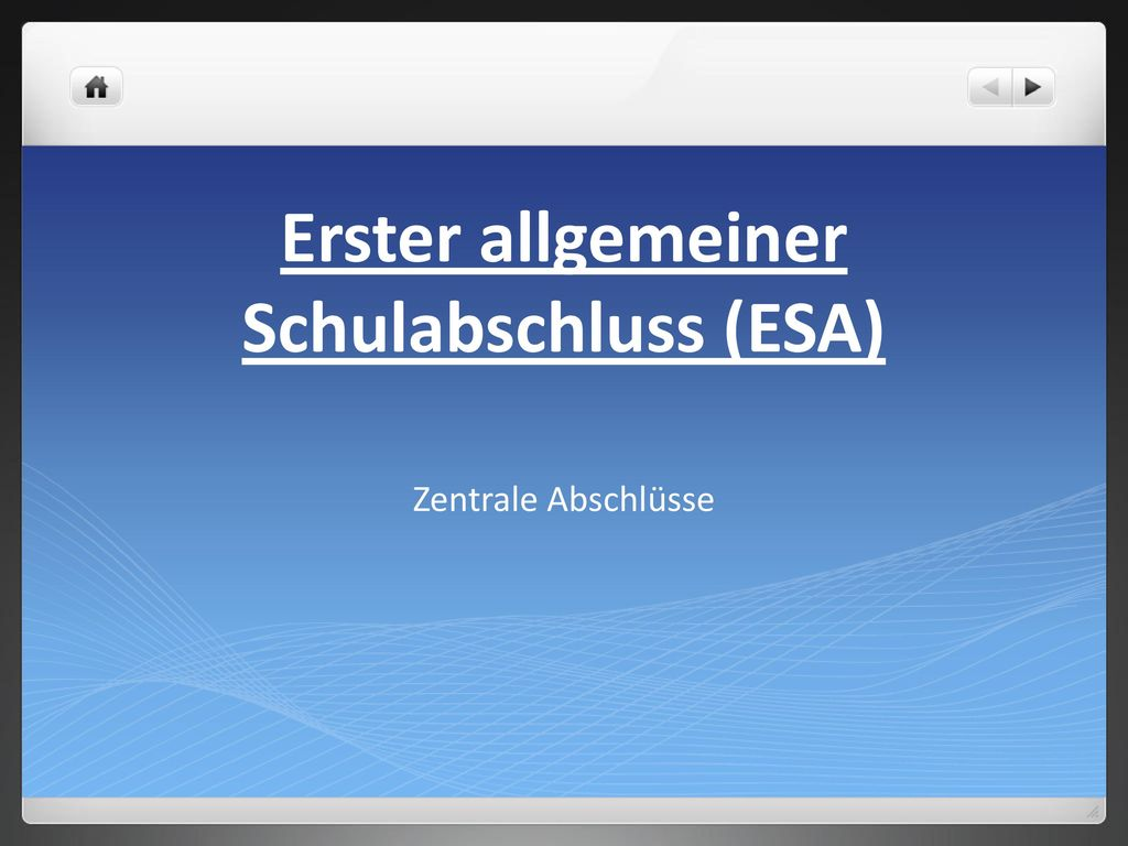Erster allgemeiner Schulabschluss (ESA)