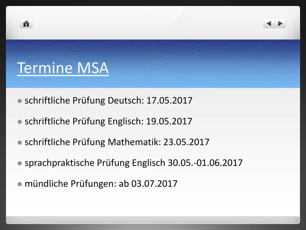 Termine MSA schriftliche Prüfung Deutsch: 17.05.2017