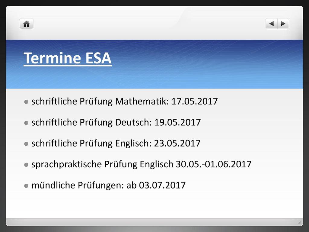 Termine ESA schriftliche Prüfung Mathematik: 17.05.2017