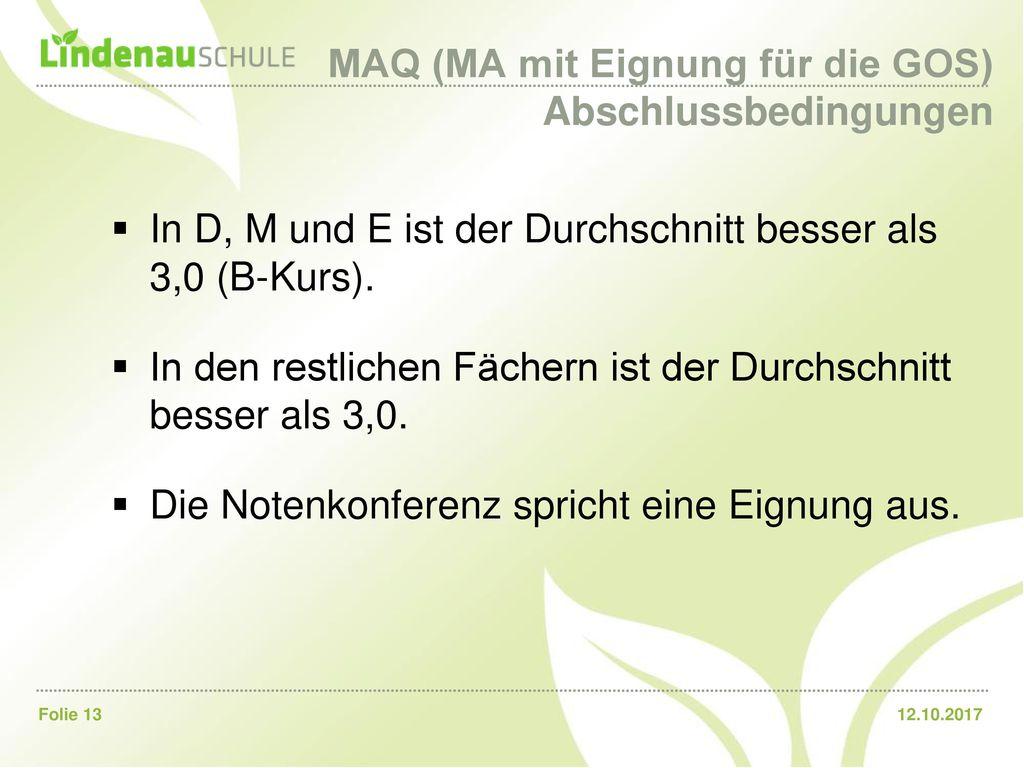 MAQ (MA mit Eignung für die GOS) Abschlussbedingungen