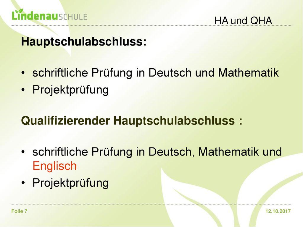 Hauptschulabschluss: schriftliche Prüfung in Deutsch und Mathematik