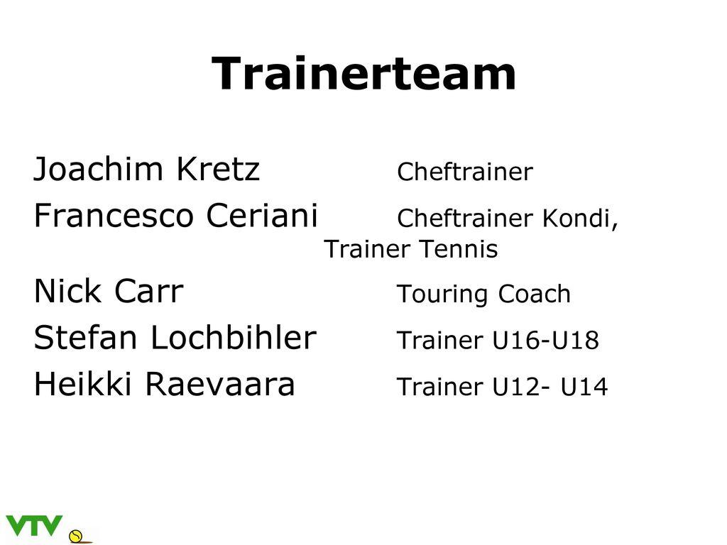 Trainerteam Joachim Kretz Cheftrainer