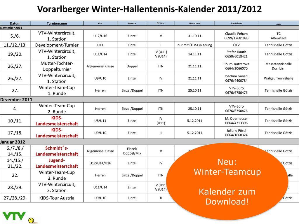 Vorarlberger Winter-Hallentennis-Kalender 2011/2012