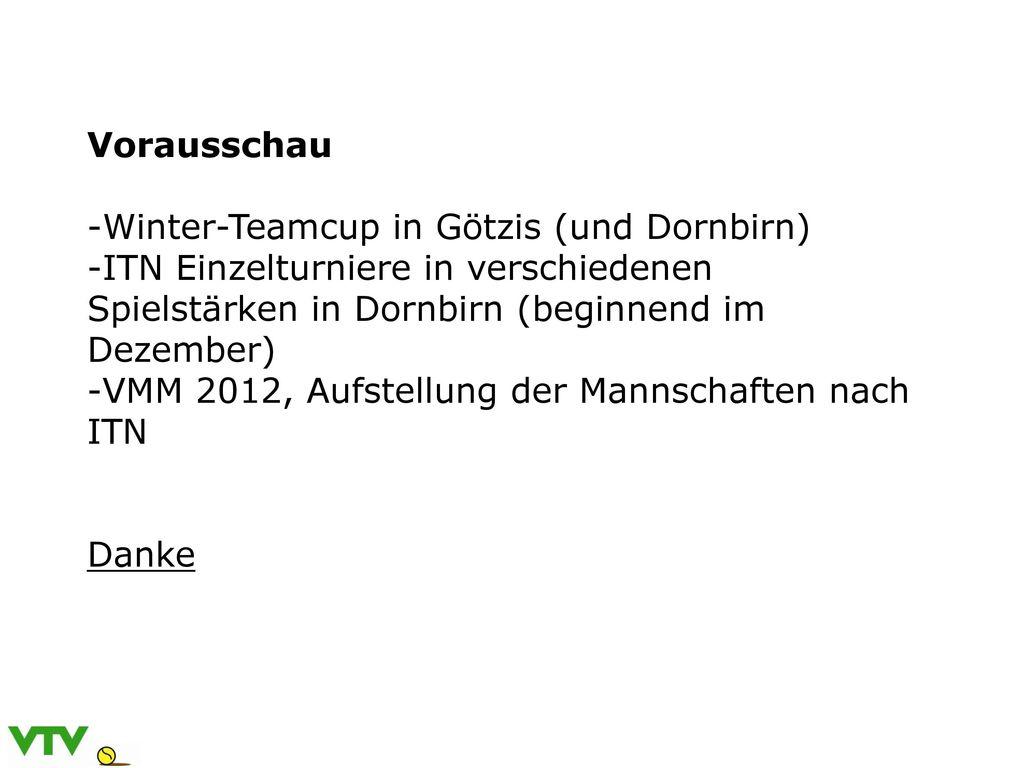 Vorausschau Winter-Teamcup in Götzis (und Dornbirn) ITN Einzelturniere in verschiedenen Spielstärken in Dornbirn (beginnend im Dezember)