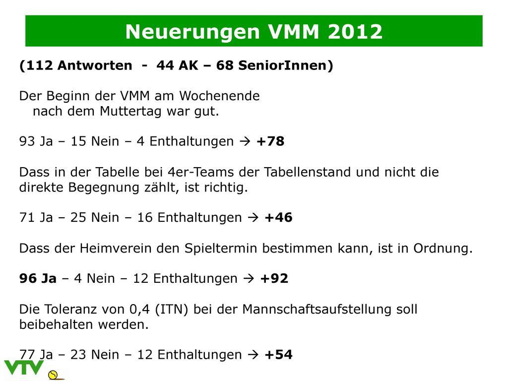Neuerungen VMM 2012 (112 Antworten - 44 AK – 68 SeniorInnen)