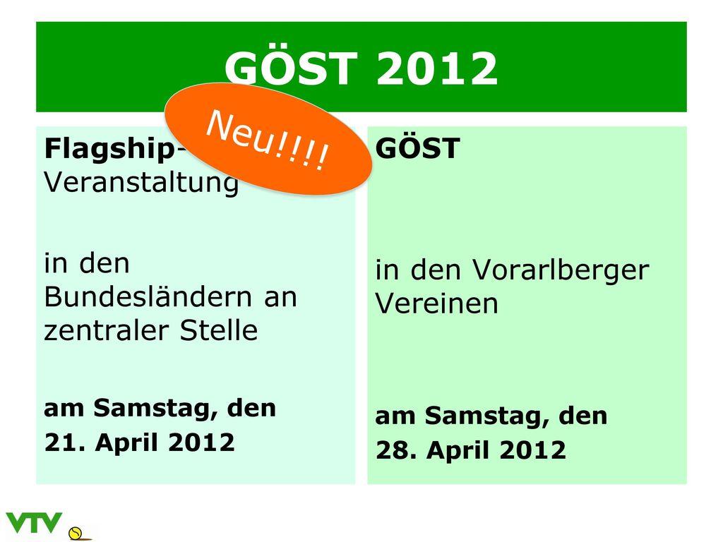 GÖST 2012 Neu!!!! Flagship-Veranstaltung