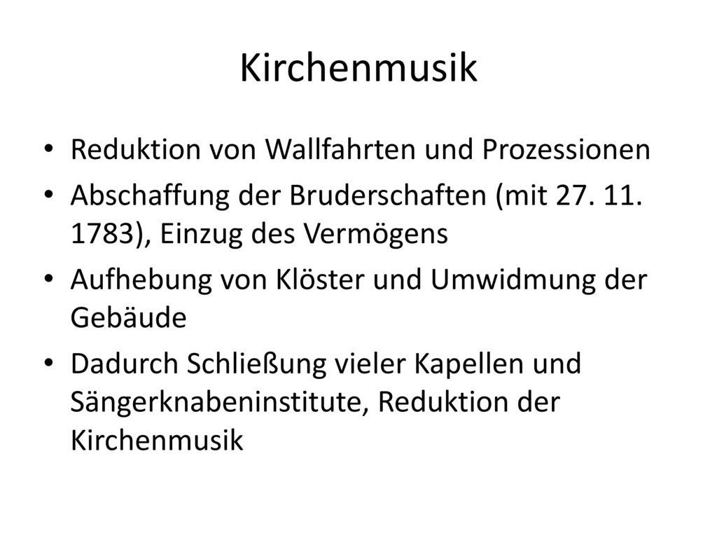 Kirchenmusik Reduktion von Wallfahrten und Prozessionen