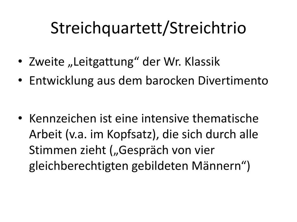 Streichquartett/Streichtrio