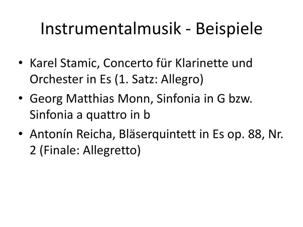 Instrumentalmusik - Beispiele