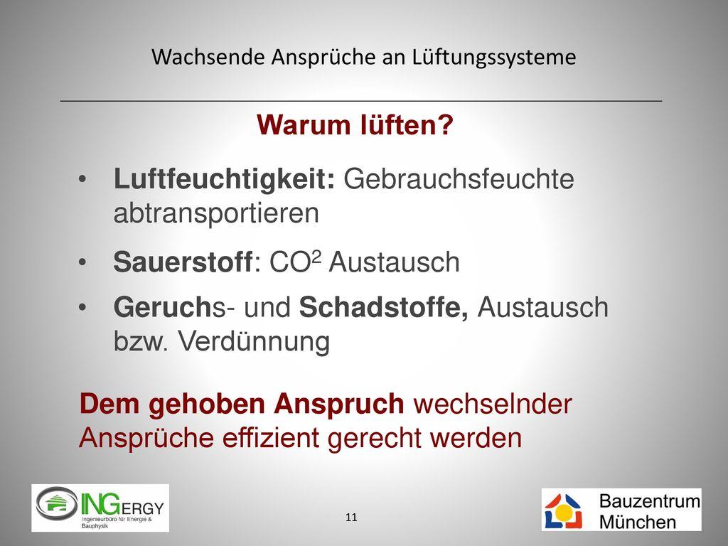 Warum lüften Luftfeuchtigkeit: Gebrauchsfeuchte abtransportieren. Sauerstoff: CO2 Austausch. Geruchs- und Schadstoffe, Austausch bzw. Verdünnung.