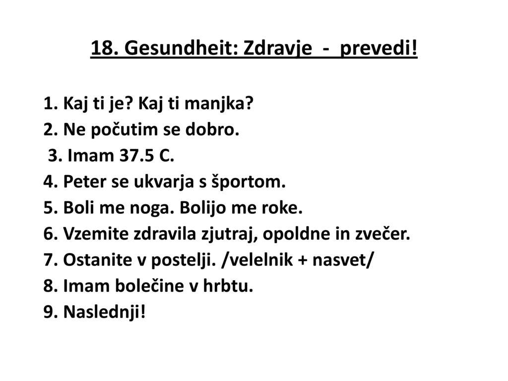 18. Gesundheit: Zdravje - prevedi!