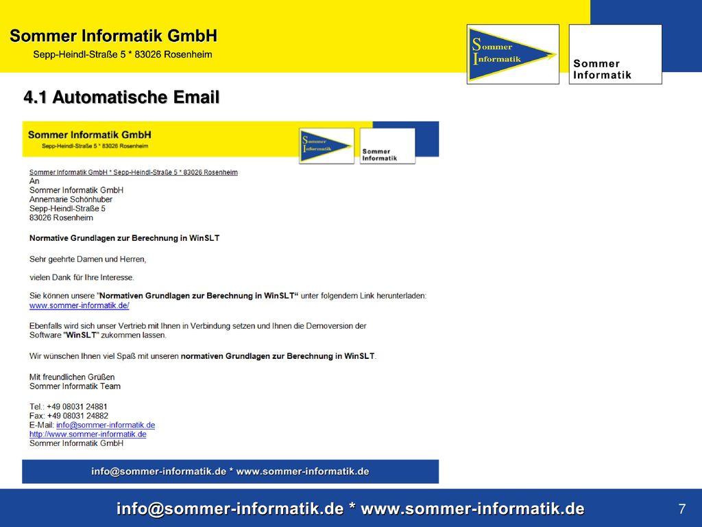 4.1 Automatische Email