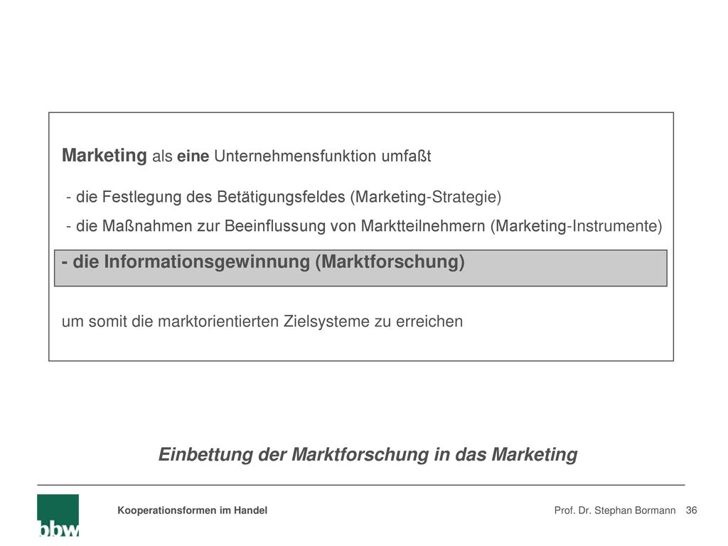 Einbettung der Marktforschung in das Marketing