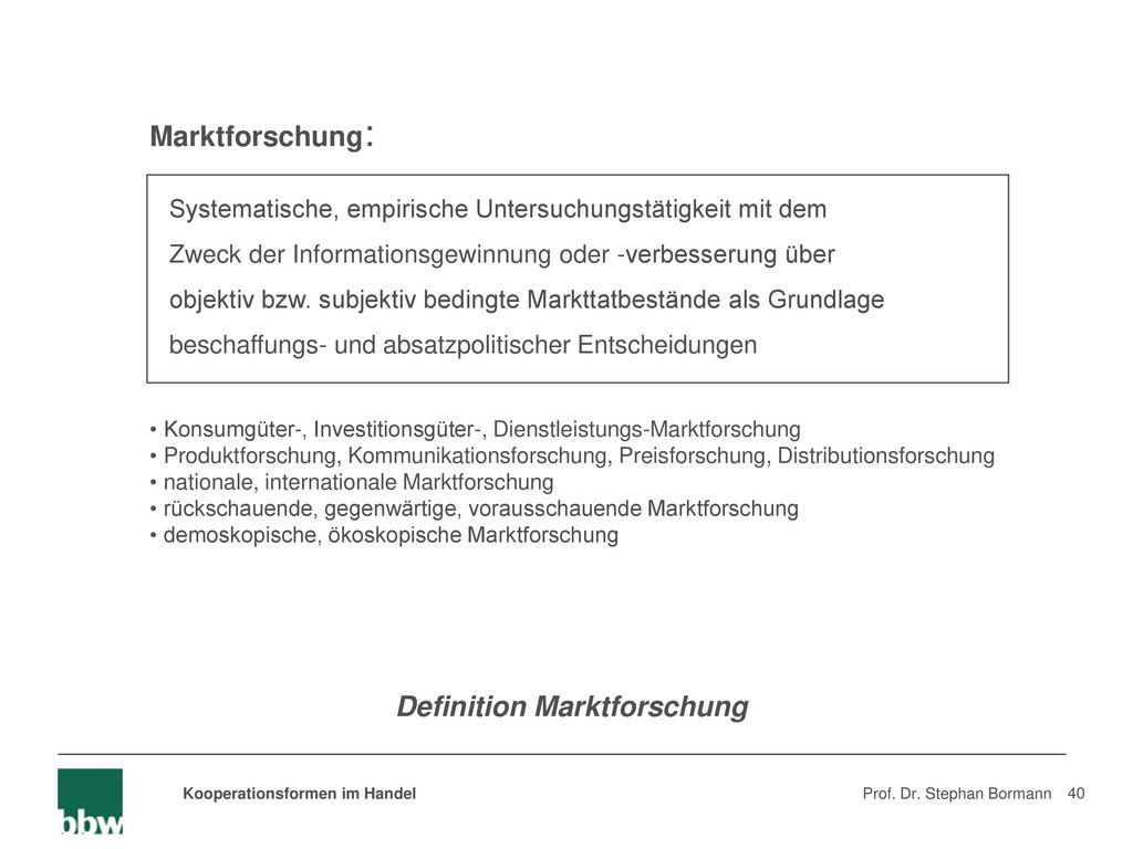 Definition Marktforschung