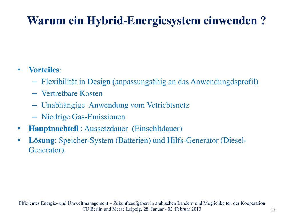 Warum ein Hybrid-Energiesystem einwenden