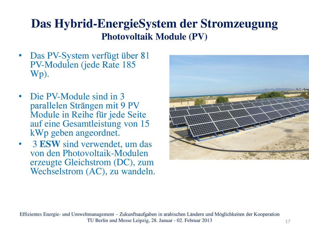 Das Hybrid-EnergieSystem der Stromzeugung Photovoltaik Module (PV)