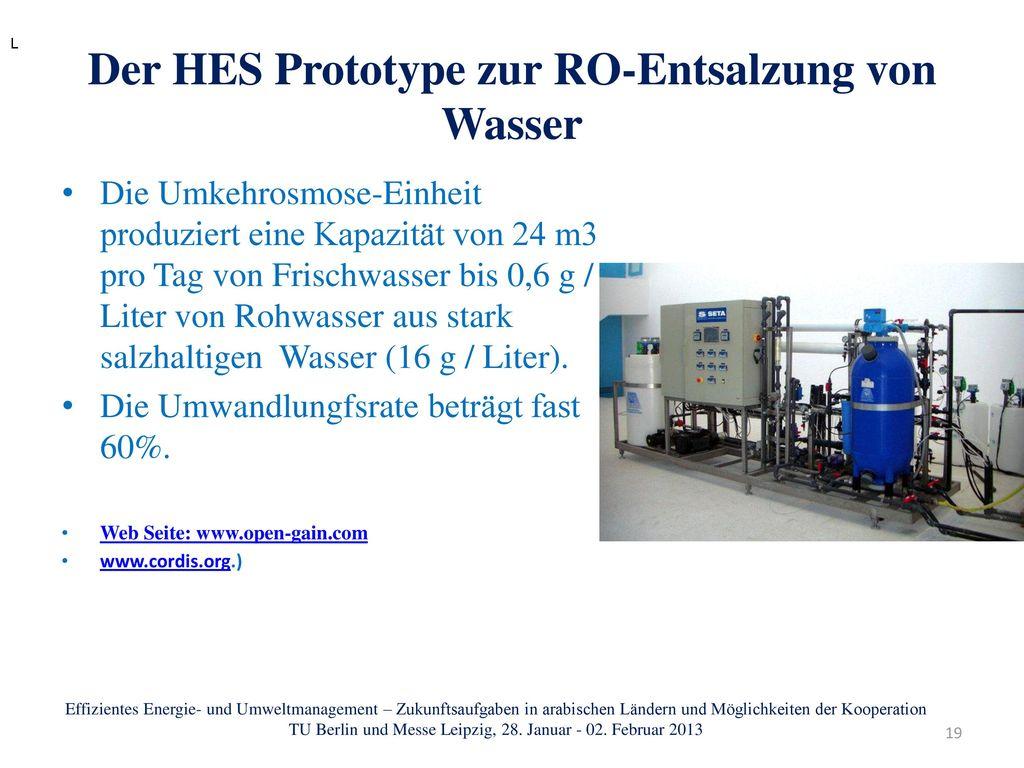Der HES Prototype zur RO-Entsalzung von Wasser