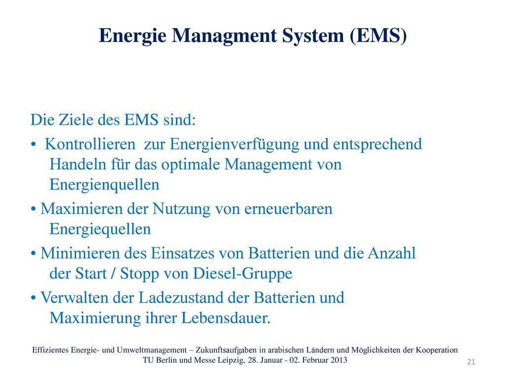 Energie Managment System (EMS)