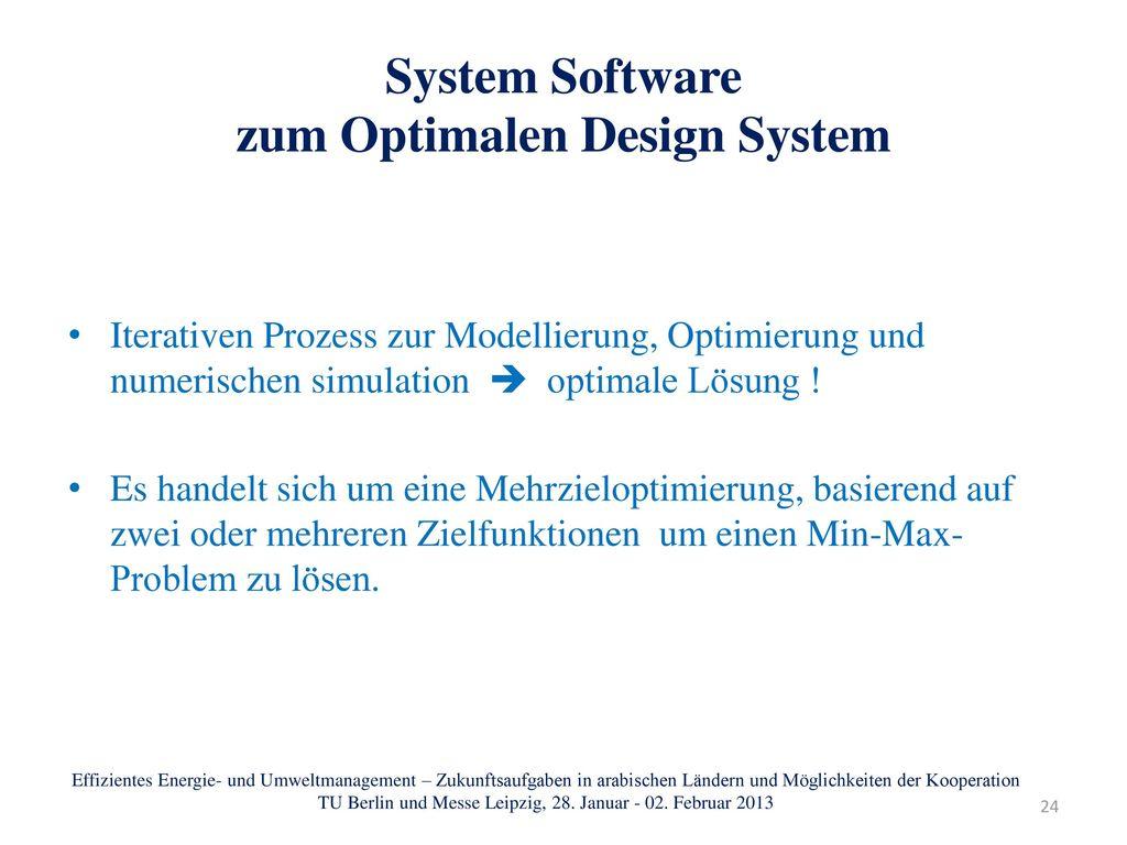 System Software zum Optimalen Design System
