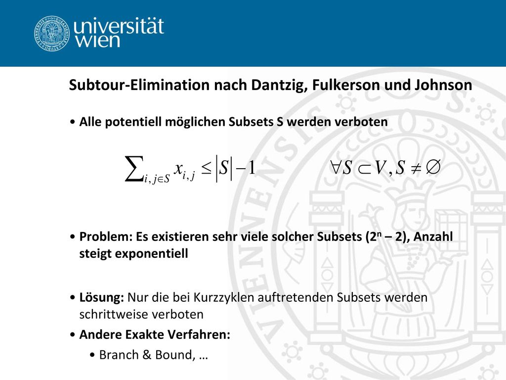 Subtour-Elimination nach Dantzig, Fulkerson und Johnson