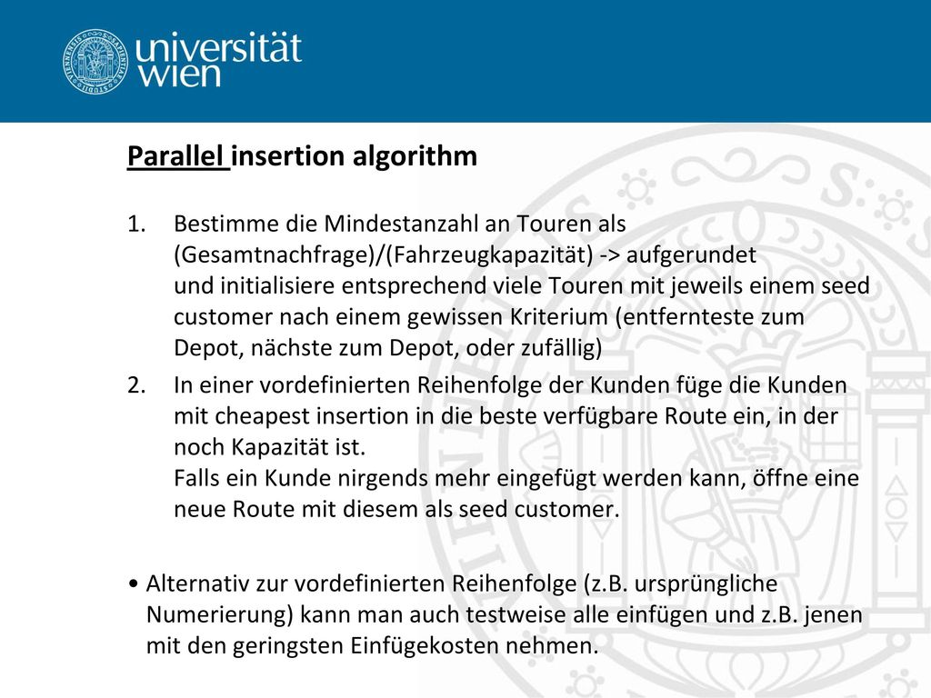 Parallel insertion algorithm