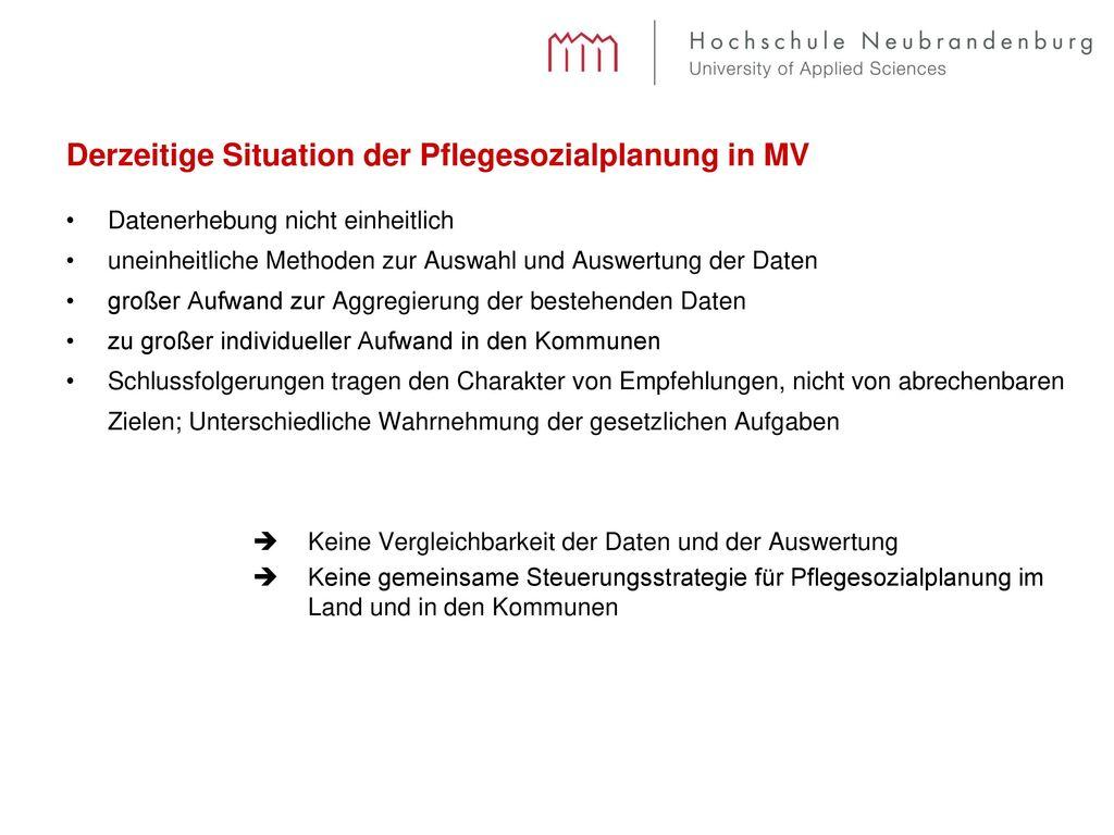 Derzeitige Situation der Pflegesozialplanung in MV