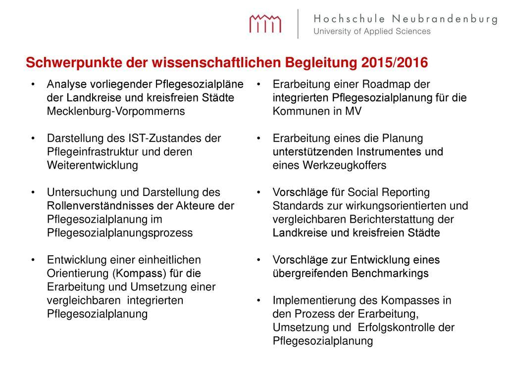 Schwerpunkte der wissenschaftlichen Begleitung 2015/2016