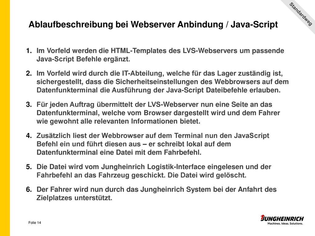Ablaufbeschreibung bei Webserver Anbindung / Java-Script