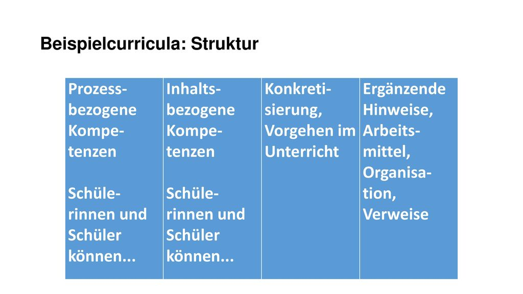 Beispielcurricula: Struktur