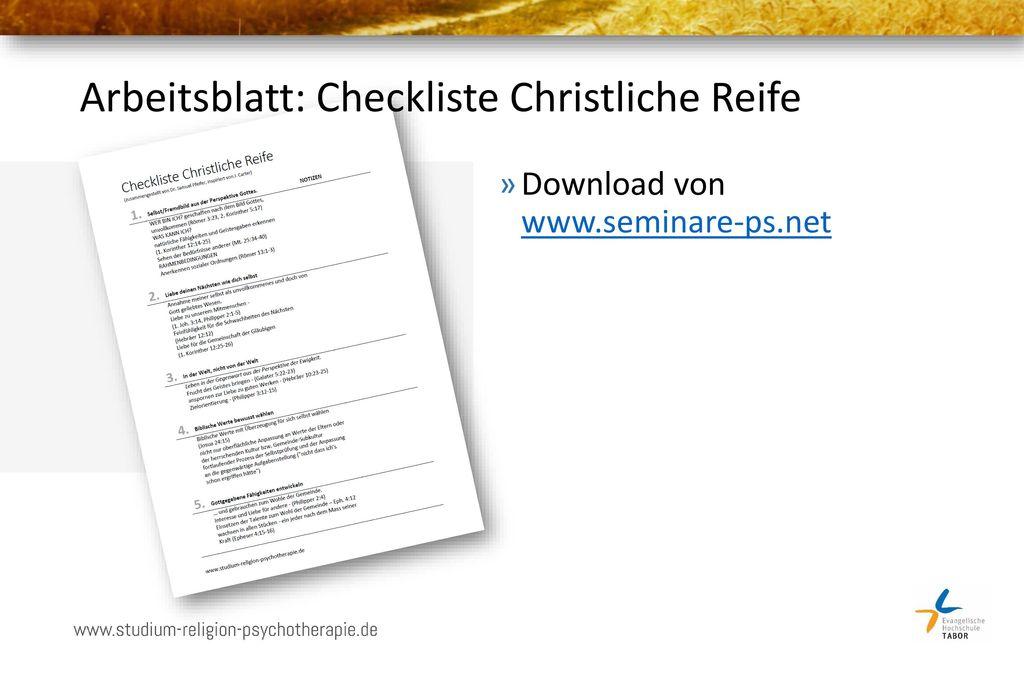 Arbeitsblatt: Checkliste Christliche Reife