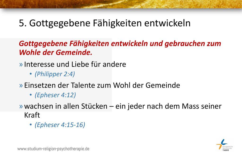 5. Gottgegebene Fähigkeiten entwickeln