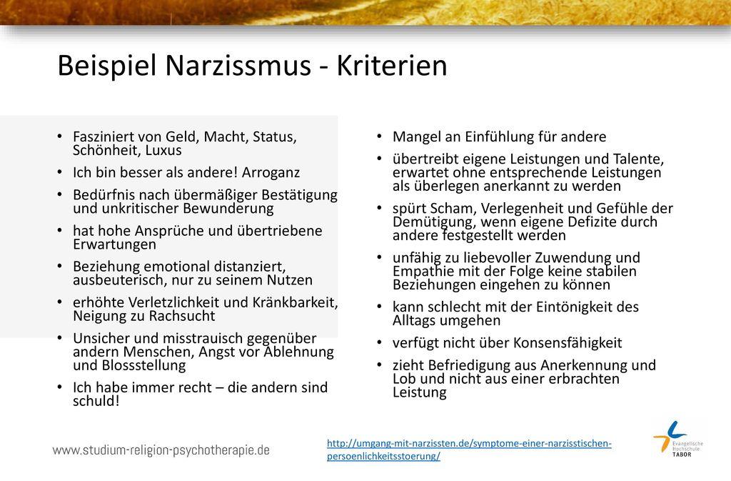 Beispiel Narzissmus - Kriterien