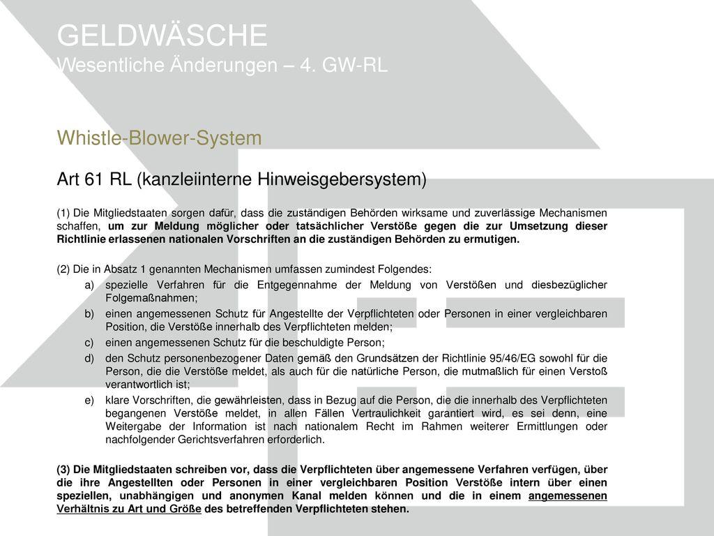 GELDWÄSCHE Wesentliche Änderungen – 4. GW-RL