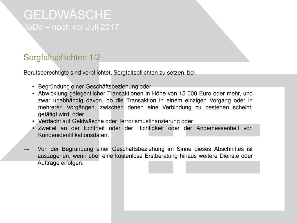 GELDWÄSCHE ToDo – noch vor Juli 2017