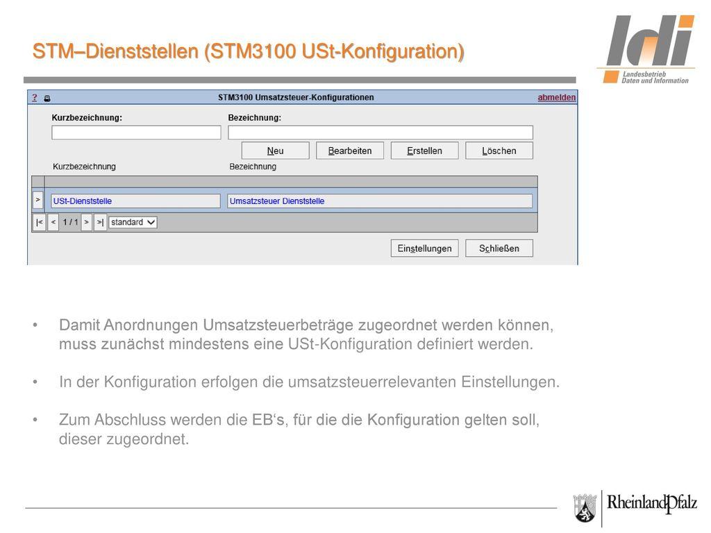 STM–Dienststellen (STM3100 USt-Konfiguration)